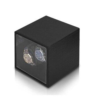 Viiways Wood Finish Double Watch Winder 2+0 Automatic Watch Winder case Alligator Grain Black Leather - intl