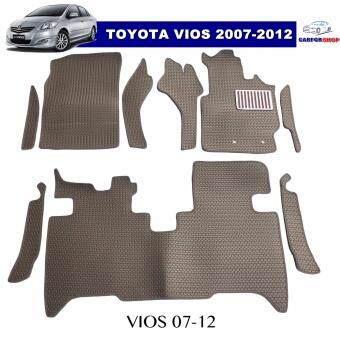 พรมปูพื้นรถยนต์ VIOS 2007-2012 ลายธนู สีน้ำตาล เต็มคัน +แผ่นกันสึก เข้ารูป100%
