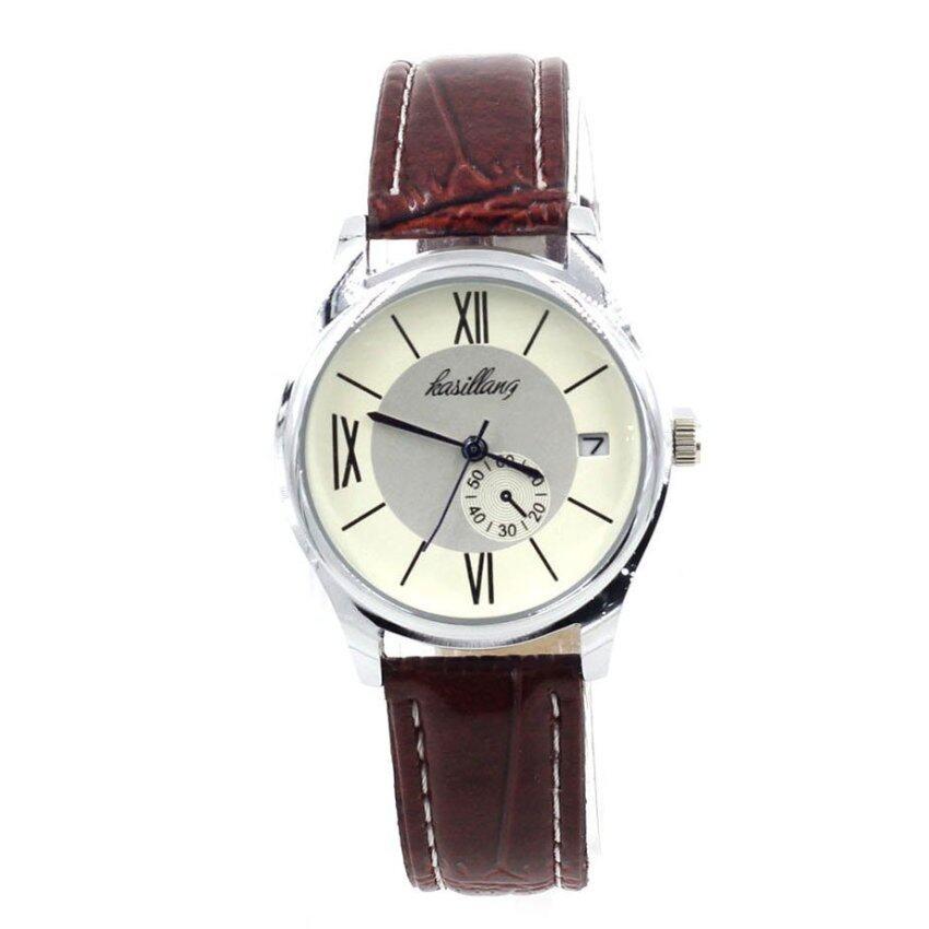 W Time นาฬิกาข้อมือผู้หญิง ระบบวันที่ - WP8142 (White/ Brown)