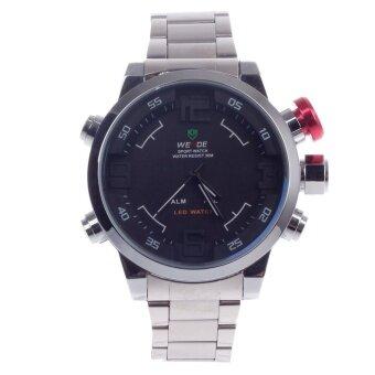 แนะนำ WEIDE WH-2039 Men's Quartz & LED Electronics Dual Time DisplayWrist Watch – Silver