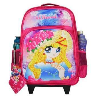 Wheal กระเป๋าเป้มีล้อลากสำหรับเด็ก เป้สะพายหลังกระเป๋านักเรียน 16 นิ้ว รุ่น Princess 06916 (Pink)