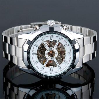 Winner 340 นาฬิกาข้อมือผู้ชาย ระบบกลไกแบบออโตเมติก โชว์กลไกสไตส์คลาสสิก สายสแตนเลส หน้าปัดสีขาว
