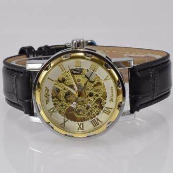 Winner นาฬิกาข้อมือผู้ชาย ระบบกลไกแบบไขลาน โชว์กลไก สไตส์คลาสสิกวินเทจ สายหนังสีดำ หน้าปัดสีขาว