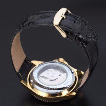Winner 593 นาฬิกาข้อมือผู้ชาย ระบบกลไกแบบออโตเมติก สไตส์คลาสสิกวินเทจ หรูหรา สายหนัง หน้าปัดสีทอง - 5