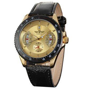 Winner 593 นาฬิกาข้อมือผู้ชาย ระบบกลไกแบบออโตเมติก สไตส์คลาสสิกวินเทจ หรูหรา สายหนัง หน้าปัดสีทอง - 2