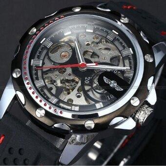 WINNER New Luxury Skeleton Automatic Mechanical Men Watch StainlessSteel Bracelet Wrist Watch Business Uhren Men - intl