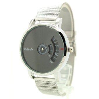 Womage Watch นาฬิกาข้อมือชาย-หญิง สาย Stainless หน้าดำเงา ระบบจานหมุนตัวเลข WM-1