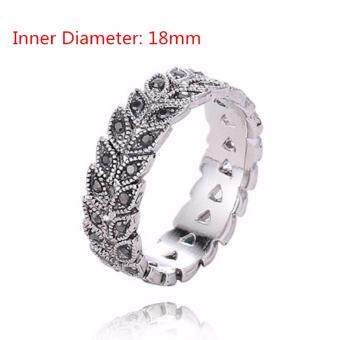 Women Crystal Hollow Leaves Ring Wedding Engagement Ring - intl
