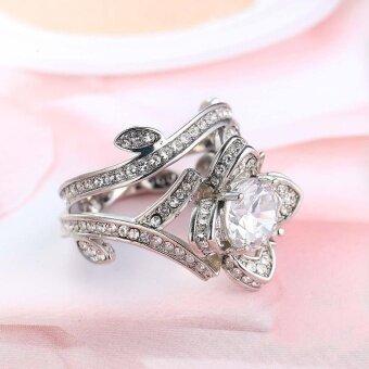 รีวิวพันทิป Women Engagement Ring Lotus Flower Silver Color Titanium Steel Wedding Jewelry