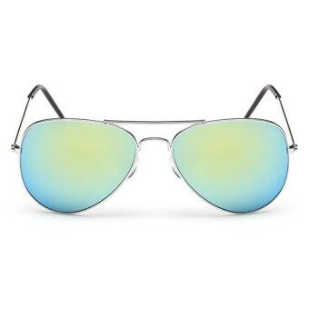 Women Sport sunglasses Fashion round multicolor lenses sunglasses (silver gold) - 2