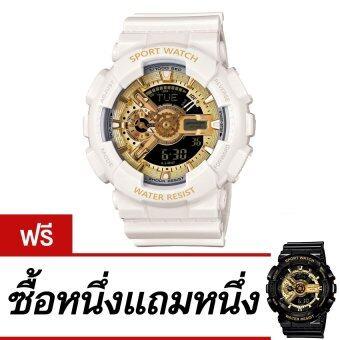 Wonderful story S SPORT นาฬิกาข้อมือ ใส่ได้ทั้งชายและหญิงกันน้ำได้-SP024 (WHITE/GOLD)ซื้อหนึ่งแถมหนึ่ง