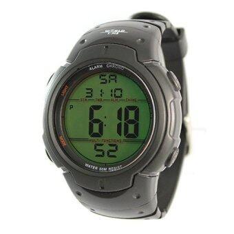 World Time Digital Watch นาฬิกาข้อมือ สีดำ/ดำ สายเรซิ่น