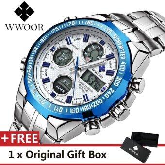แนะนำ niceEshop Mens Dual Time Display Sports Wrist… ราคา WWOOR Top Luxury Brand Watch Famous Fashion Sports Cool Men Quartz Watches Calendar Alarm Stop