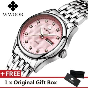 WWOOR Top Luxury Brand Watch Famous Women's Fashion Quartz Bracelet Watches Calendar Waterproof Dress Alloy Women Wristwatch Gift For Female Silver Pink - intl