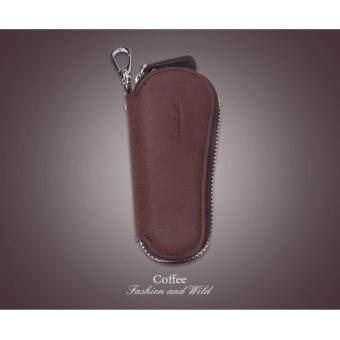 Y and L Support กระเป๋าหนังวัว สำหรับใส่พวงกุญแจ เกรดพรีเมี่ยม สีกาแฟ Bag for Keychain –S63-Coffee