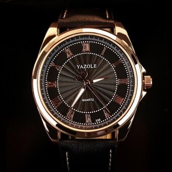 YAZOLE 336 Men's Roman Scale Business Quartz Watch Black - intl