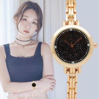 Zazzy Dolls นาฬิกาข้อมือผู้หญิง หน้าปัดกากเพชร ดีไซน์เก๋ สไตล์เกาหลี สายAlloyสีทอง รุ่น ZD-0133 สีดำ (Black)