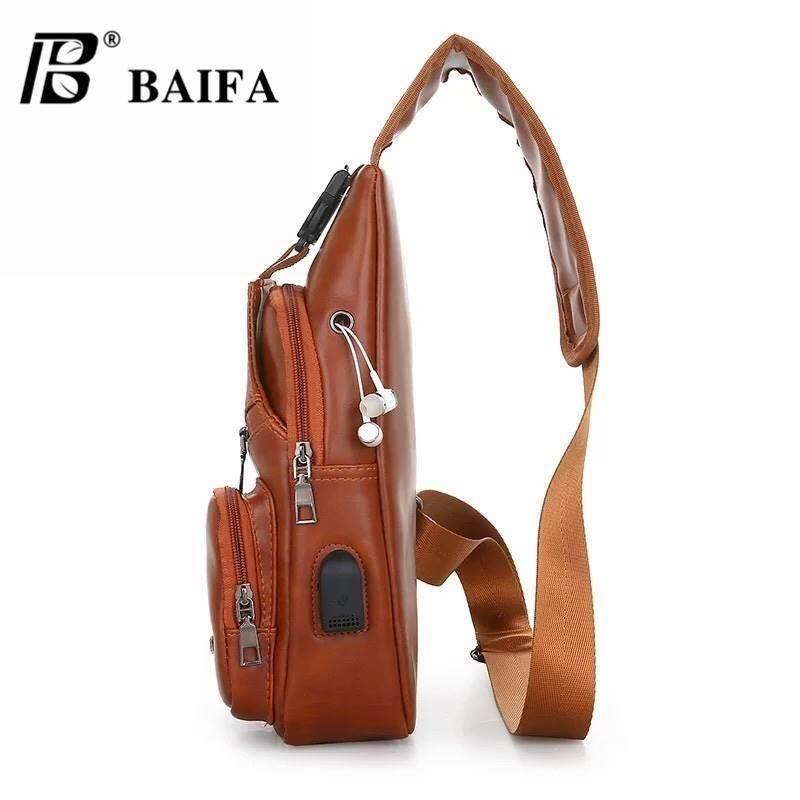 กระเป๋าสะพายพาดลำตัว นักเรียน ผู้หญิง วัยรุ่น นครพนม BAIFA SHOP B 78 กระเป๋าสะพายไหล่ กระเป๋าคาดอก แบบหนัง     แถมสายต่อ USB     สไตล์เกาหลี มีช่องเสียบชาร์ทโทรศัพท์