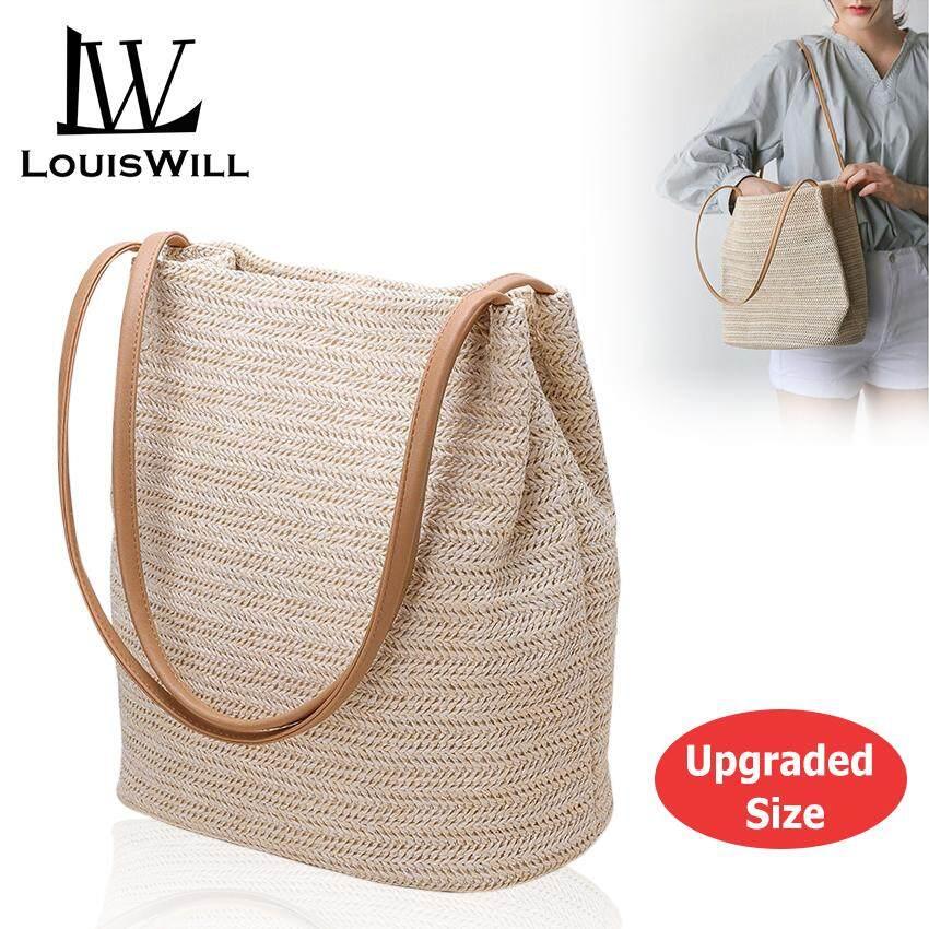 อุตรดิตถ์ LouisWill แฟชั่นเกาหลีผู้หญิงกระเป๋าสะพายไหล่ฟางบอล Fashion Women Bucket Bag Straw Bags Woven Shoulder Bag Handbag Crossbody Bag