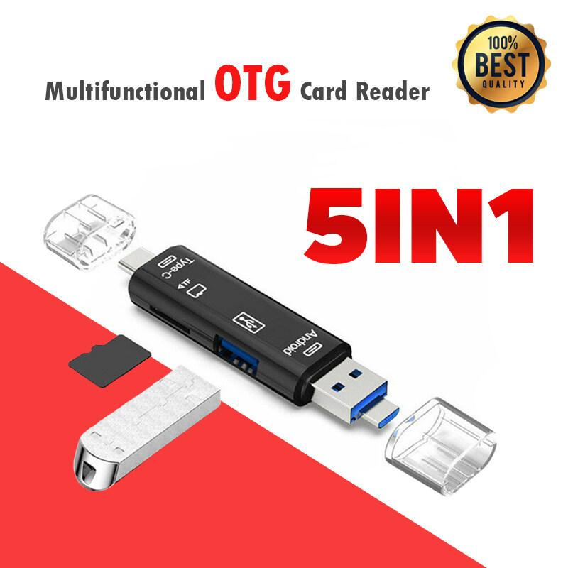 การ์ดรีดเดอร์ เชื่อมต่อโอทีจี Type C / USB / Micro USB TF Memory Card Reader OTG Adapter 5 in 1 USB 3.0