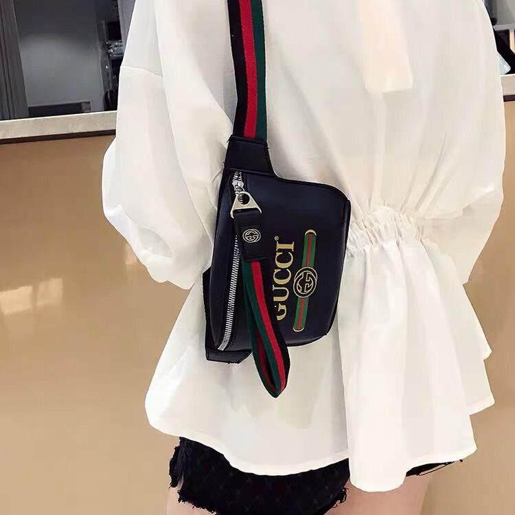กระเป๋าสะพายพาดลำตัว นักเรียน ผู้หญิง วัยรุ่น ตรัง กระเป๋าคาด อก คาดเอว แฟชั่น รุ่นฮิต Gucci06