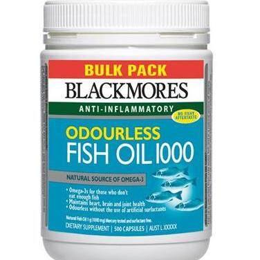 แพร่ Blackmores Odourless Fish Oil 1000 mg. สูตรไร้กลิ่นคาว 500เม็ด