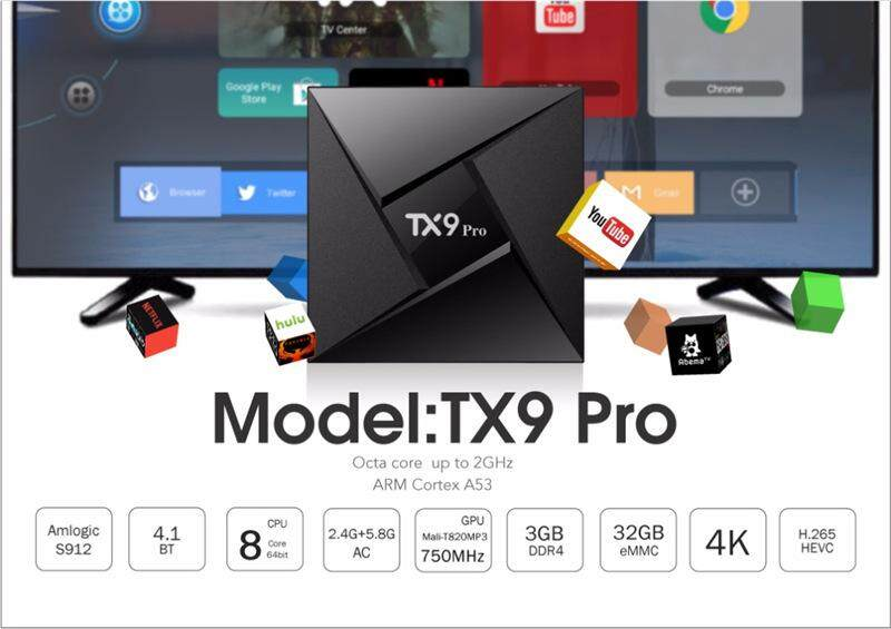 บัตรเครดิต ธนชาต  ขอนแก่น Tx9 Pro Ram 3 GB  Rom 32GB Amlogic S912 octa core Android 7.1 Tv box built in 2.4G + 5G + Bluetooth dual wifi 4Kplayer