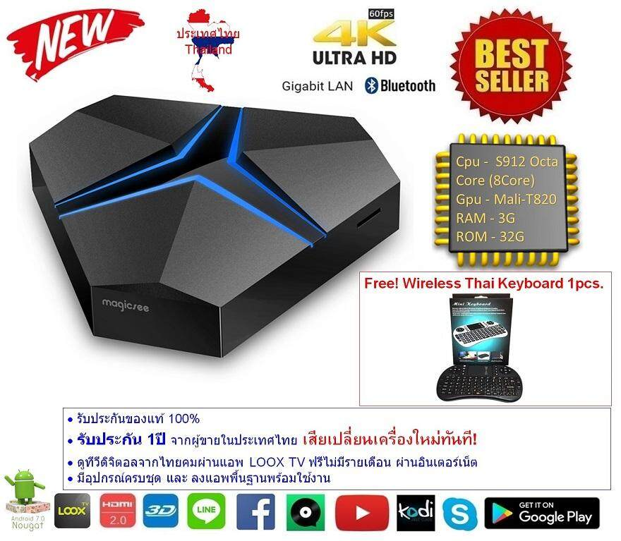 ทำบัตรเครดิตออนไลน์  จันทบุรี Android Smart TV Box Magicsee Iron+ plus Octa Core Cpu S912 RAM 3G ROM 32G UHD 4K Android Nougat 7.1.2 แถมฟรี Wireless Thai Keyboard