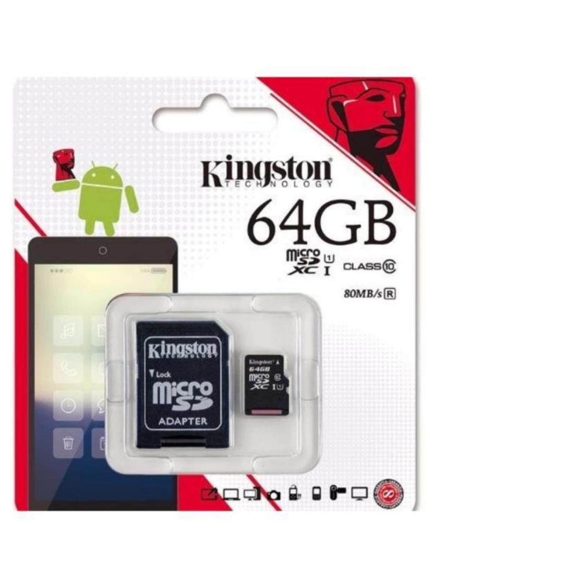 สุดยอดสินค้า!! SD Card Micro SDHC/SDXC 64 GB Class 10  รับประกันของแท้ จัดส่งฟรี จัดส่งด่วน โดย Kerry Express