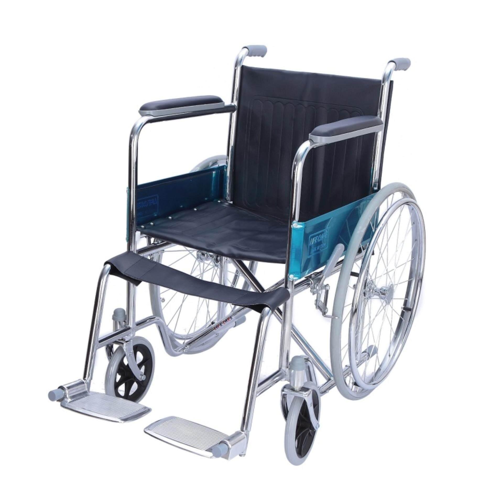 ขายดีมาก! AOLIKE  Wheelchair วีลแชร์ รถเข็นผู้ป่วย พับได้ โครงเหล็กชุบโครเมี่ยม รุ่น ALK809-46