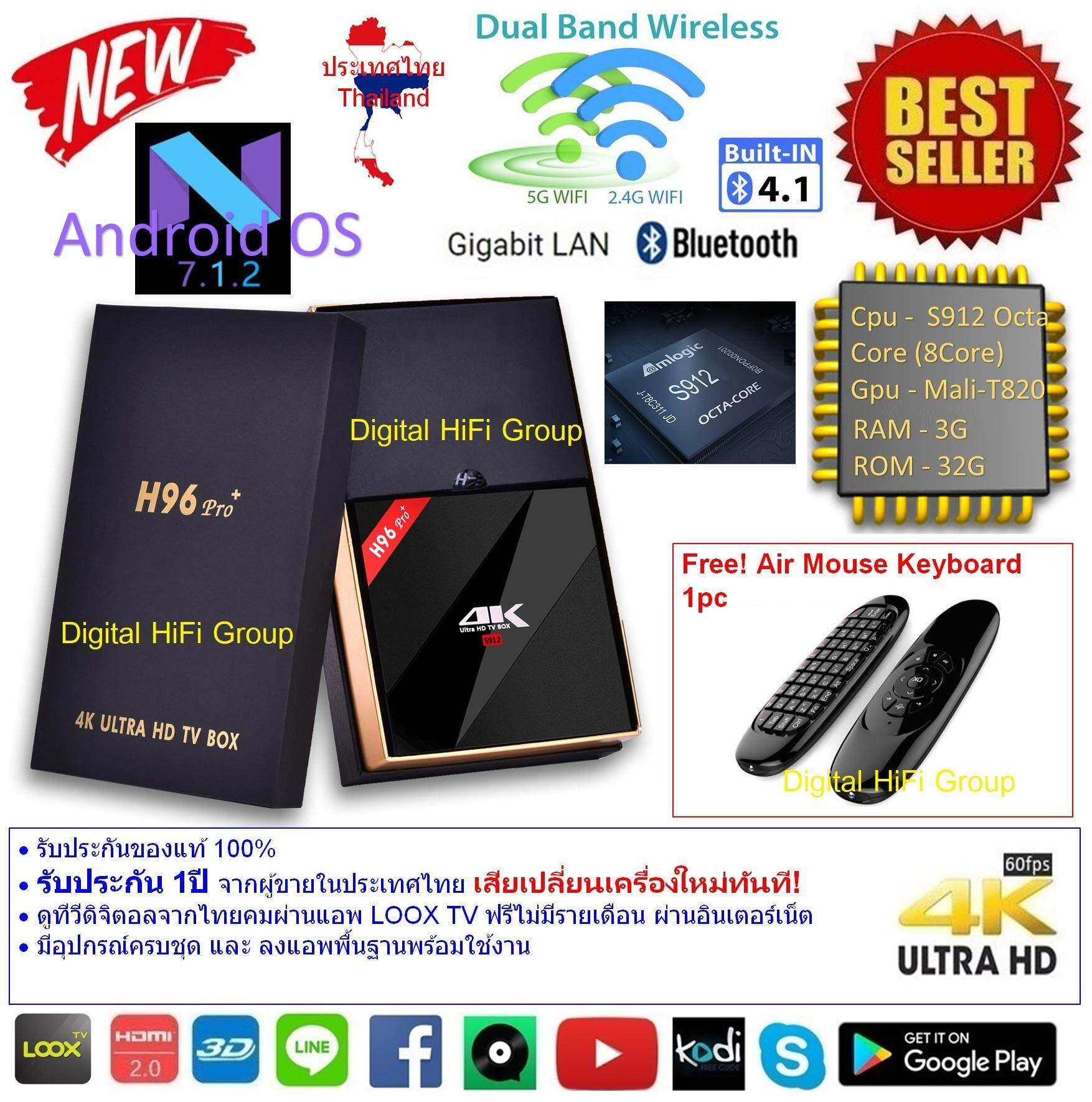 สกลนคร Android Smart TV Box H96 Pro+ Plus Octa Core Cpu S912 RAM 3G ROM 32G UHD 4K Android Nougat 7.1.2 แถมฟรี Air Mouse Keyboad C120