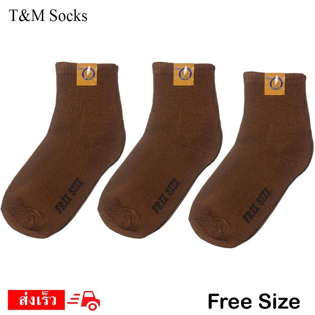 ขายดีมาก! T&M socks จัดส่งโดย Kerry ถุงเท้านักเรียน สีน้ำตาล ผ้าบาง ลายการ์ตูน set 1 คู่
