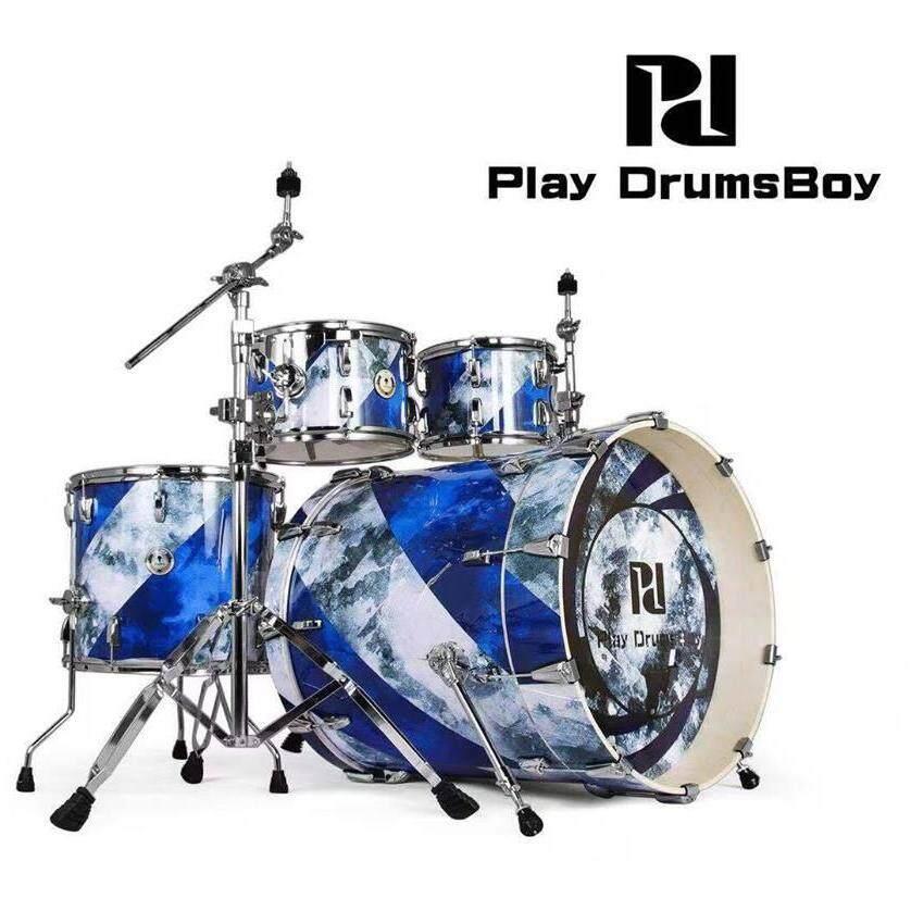 ลดสุดๆ (ส่งฟรีKerry) กลองชุดใหญ่ แบรนด์ดัง Korea พร้อมอุปกรณ์ครบ(ตามรูป) แถมฟรีเก้าอี้กลอง เอกลักษณ์เฉพาะตัว กระเดื่องลึก Play Drums Boy Playboy Series สี Rotate the ink กลองชุด 5 ใบ ดีไซด์สวย คุณภาพเ