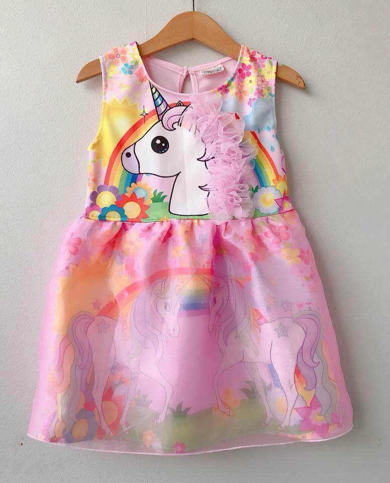 สุดยอดสินค้า!! ส่ง Kerry ฟรีทั้งร้าน !! ชุดเด็ก เสื้อผ้าเด็ก ชุดเจ้าหญิง เดรสยูนิคอร์น กระโปรงแก้วสกรีน #ของมันต้องมีค่ะคุณแม่