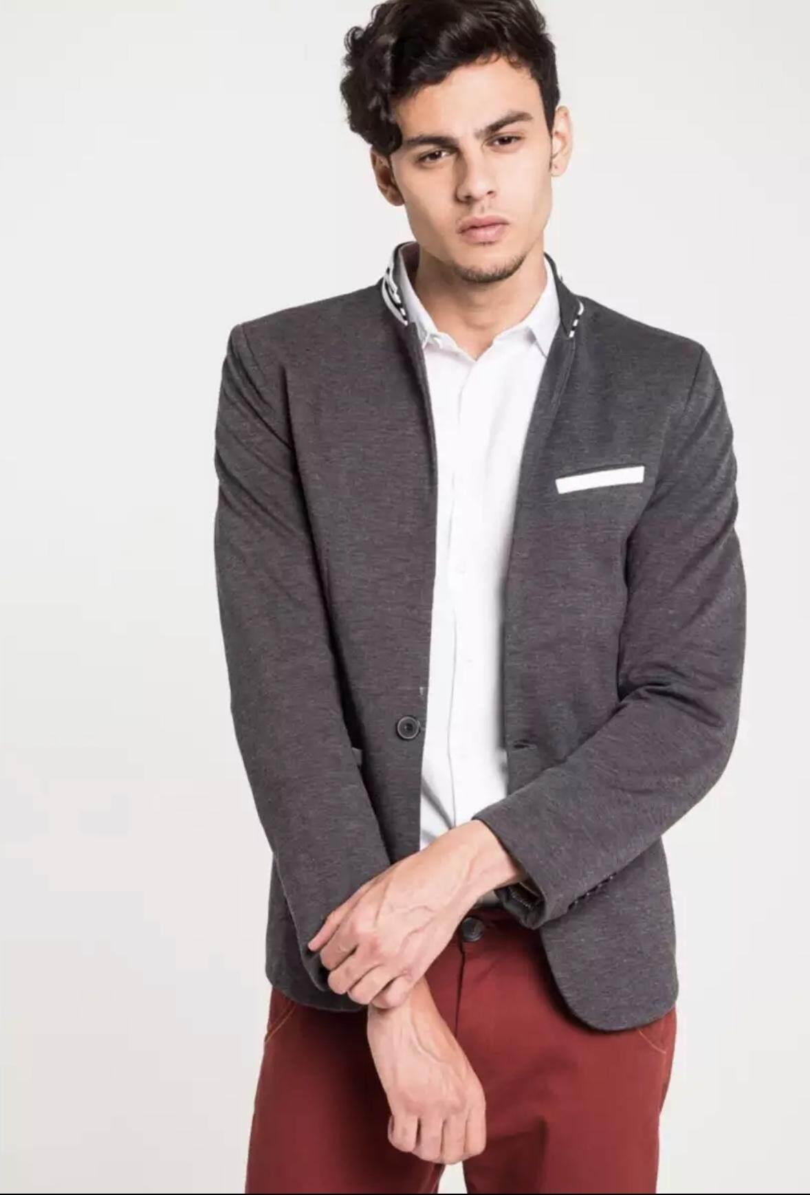 เสื้อเบลเซอร์ เสื้อสูทผู้ชาย B&B East Meets West Striped Collar 901