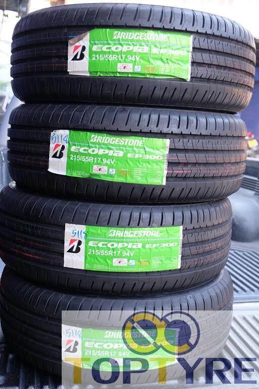 แม่ฮ่องสอน ยางรถยนต์ BRIDGESTONE รุ่น Ecopia EP300 Size 215/55 R17 ยางใหม่ปี18 จำนวน4เส้น แถมฟรีจุ๊บลม