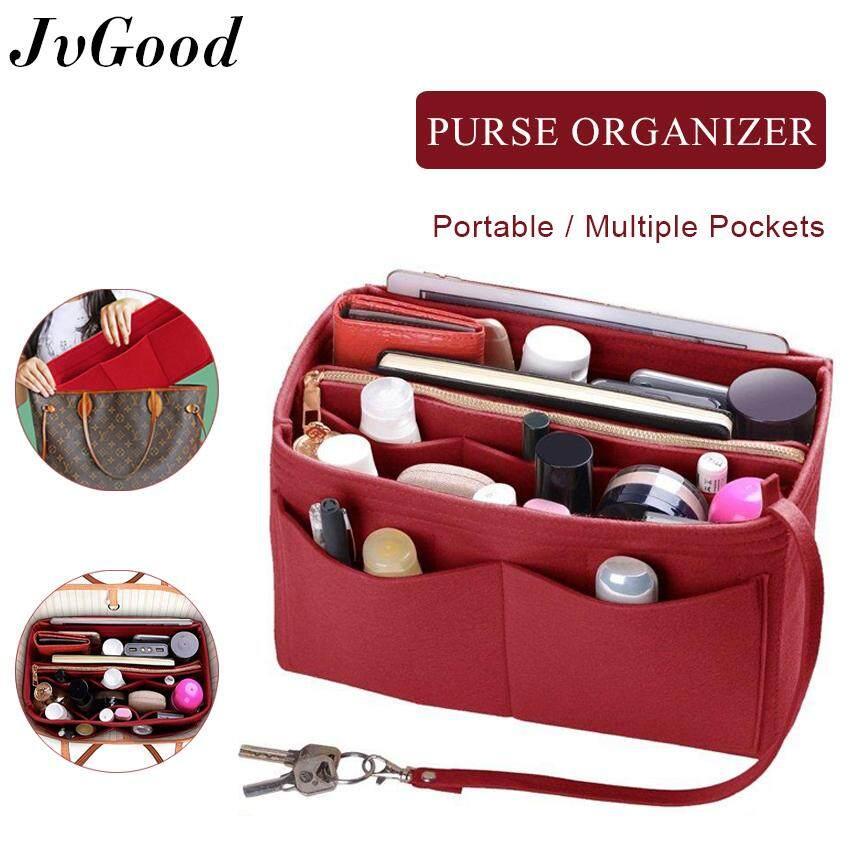 ชัยภูมิ JvGood กระเป๋าใส่เครื่องสำอาง Purse Organizer Insert Handbag Organizer   2in1 Bag Purse Tote Insert with Zipped Pocket Tote Shaper and Many Pockets for Travel  Shopping  Party