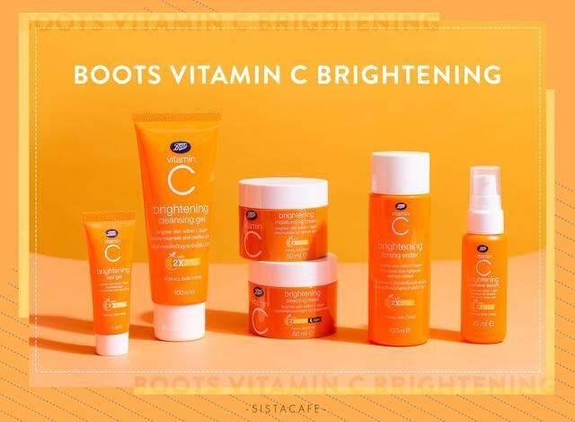 [ของแท้/ส่ง Kerry/ส่งไวที่สุด]Boots Vitamin C set เซ็ทวิตามินซี ของ Boots ตัวดัง ช่วยลดริ้วรอย จุดด่างดำ รอยสิว ผิวหน้ากระจ่างใส (ครบชุด 5 ชิ้น) โทนเนอร์ tonner Vit C /เซรั่ม serum vitamin C /day cre