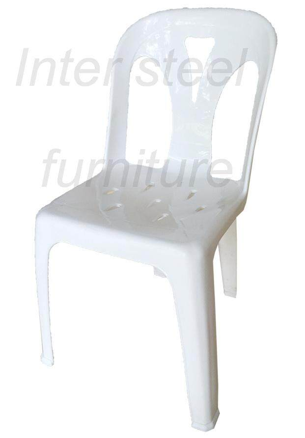 Inter Steel เก้าอี้พลาสติก เกรดA มีพนักพิง รุ่นหลังY - สีขาว Plastic chair  Grade A  with backrest  Y-White