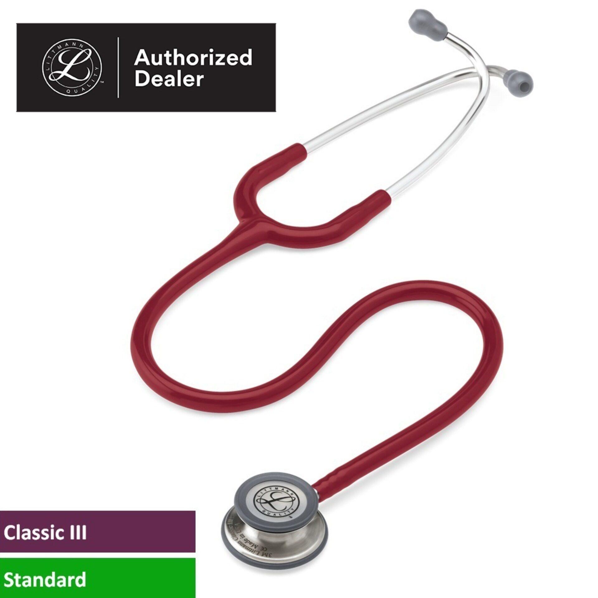 3M Littmann Classic III Stethoscope, 27 inch, #5627 (Burgundy Tube, Standard-Finish Chestpiece, Stainless Stem & Eartubes)