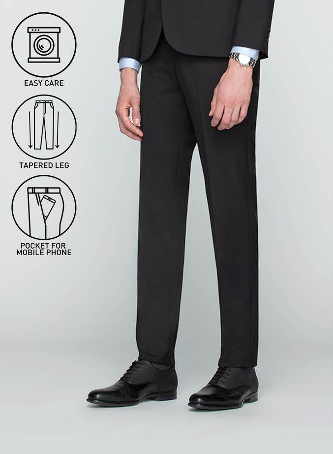 GQWhite ดีไหม เชียงใหม่ GQSize กางเกงขายาว - GQ  Slacks  Long Pants Wool Blend Fabric Solid  130-810821  Black