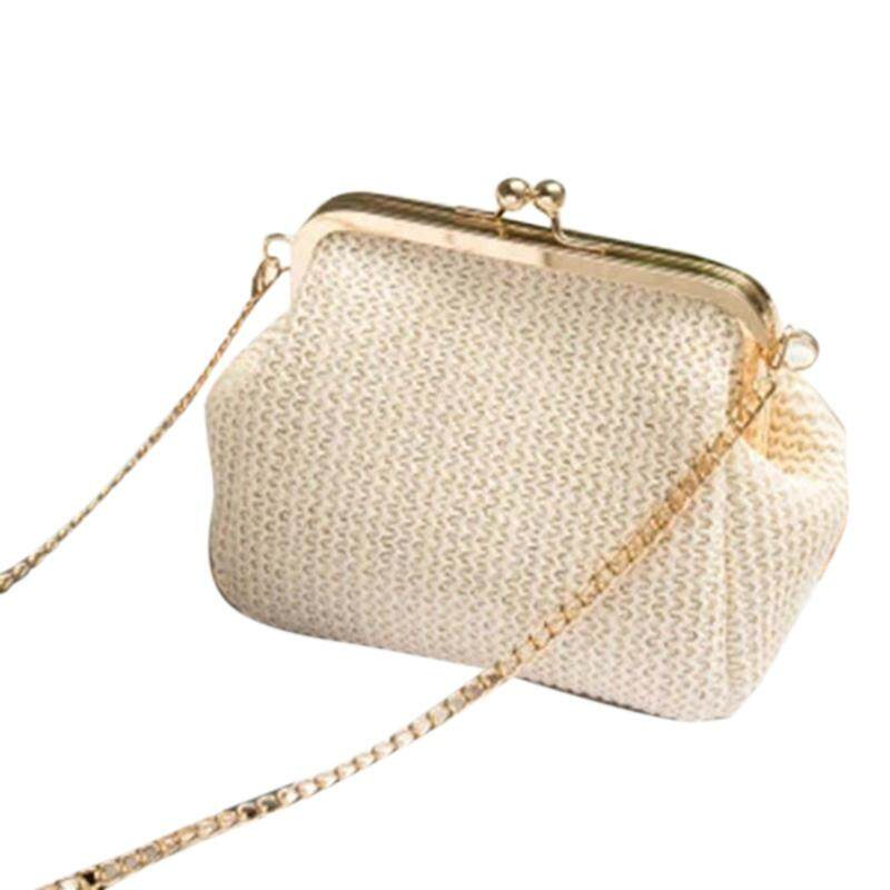 กระเป๋าถือ นักเรียน ผู้หญิง วัยรุ่น โคราช Small Crossbody Boho Bags For Women Evening Clutch Bags Hasp Ladies Handbag Female Straw Beach Rattan Women Messenger Bag
