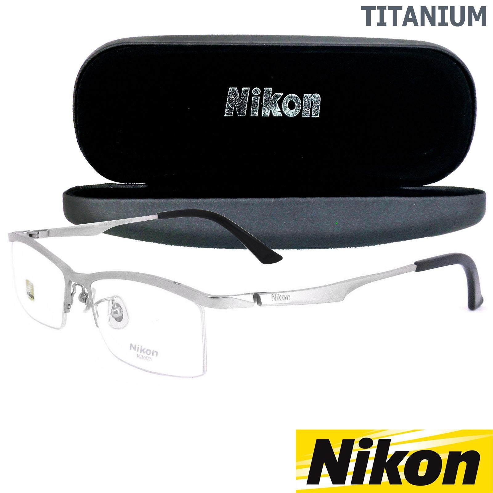 Nikon แว่นตารุ่น AV 9880 C-3 สีเงิน กรอบเซาะร่อง ขาข้อต่อ วัสดุ ไทเทเนียม (สำหรับตัดเลนส์) กรอบแว่นตา Gouging frame Eyeglass Leg joints Titanium material Eyewear Top Glasses ทางร้านเรามีบริการรับตัดเลนส์