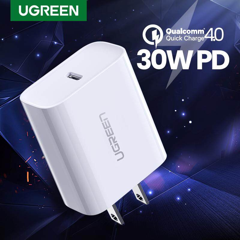 UGREEN โทรศัพท์ มือถ PD Charger 30W for ไอโฟน 11, Apple iPhone 11 Pro MAX, 11 Pro, iPhone 8, X, XS, XS MAX, SAMSUNG S10+, Note 10, iPhone 11, XR, Fast Charing for Apple iPhone, QC4.0 for Xiaomi Redmi Note 7