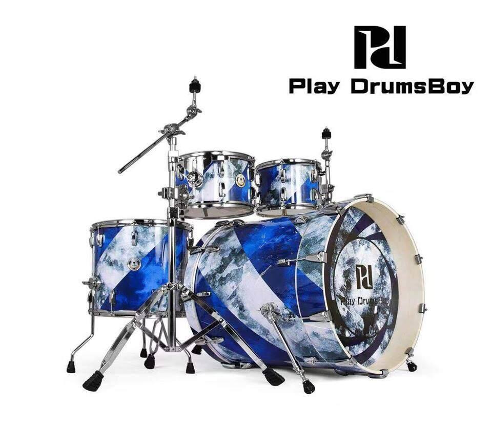 ขายดีมาก! (ส่งฟรีKerry) กลองชุดใหญ่ แบรนด์ดัง Korea พร้อมอุปกรณ์ครบ(ตามรูป) แถมฟรีเก้าอี้กลอง เอกลักษณ์เฉพาะตัว กระเดื่องลึก Play Drums Boy รุ่น Playboy Series สี Rotate the ink กลองชุด 5 ใบ ดีไซด์สวย