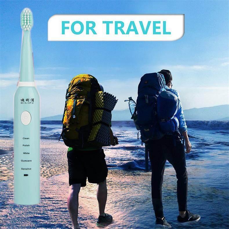 แปรงสีฟันไฟฟ้า รอยยิ้มขาวสดใสใน 1 สัปดาห์ ปทุมธานี 5 Functions Sonic Electric Toothbrush Rechargeable Teeth Tooth Brush USB Chargr with 4 Heads 2 Minutes Timer Oral Care Whitening