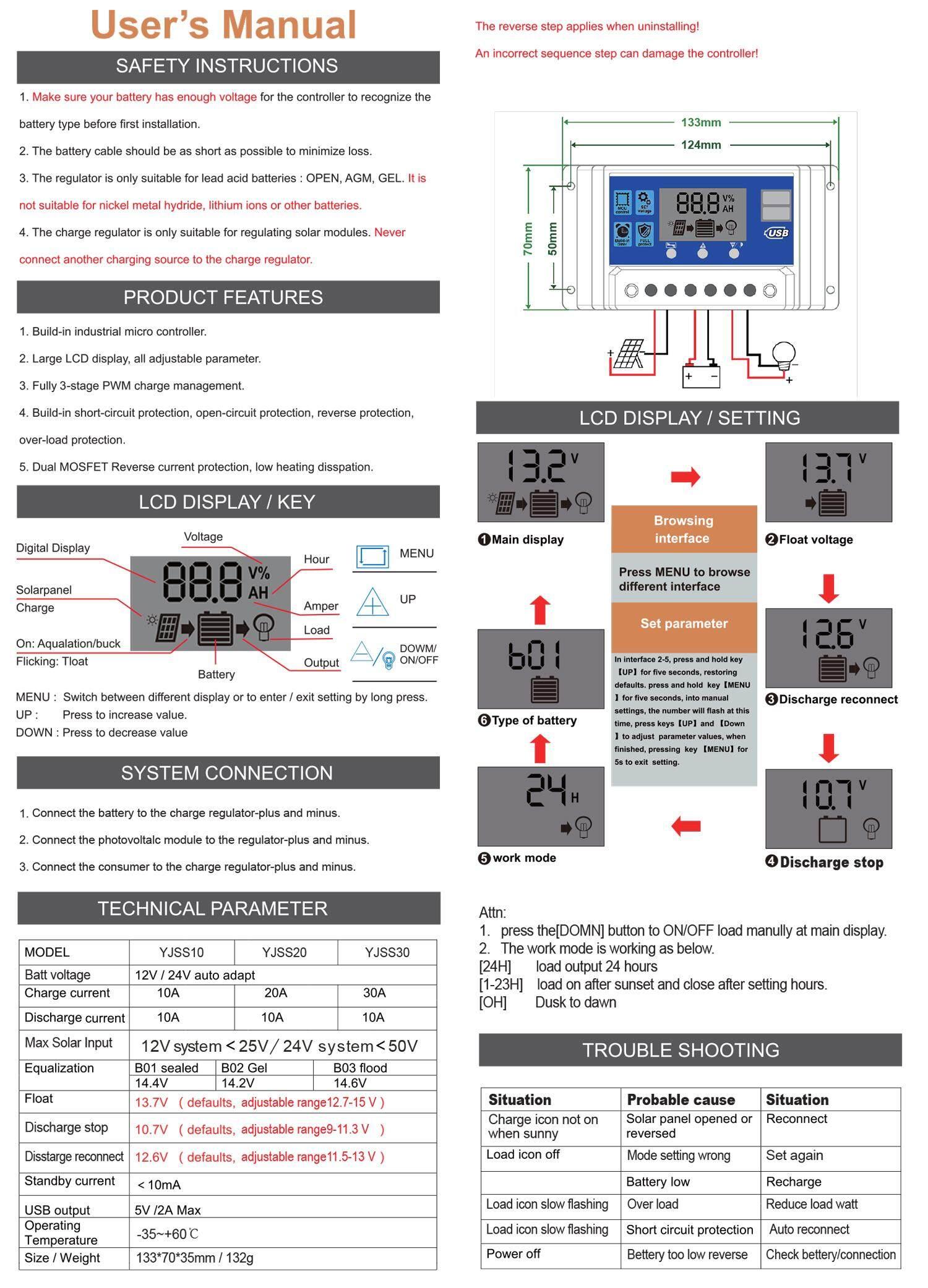 Solar Besttech Charge Controller ชาร์จเจอร์ 12V/24V 30A