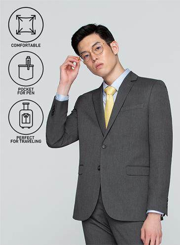 นครพนม GQSize เสื้อสูท - GQ  Suit  Long Sleeve Single Breasted TR Fabric Solid  140-111302  Gray