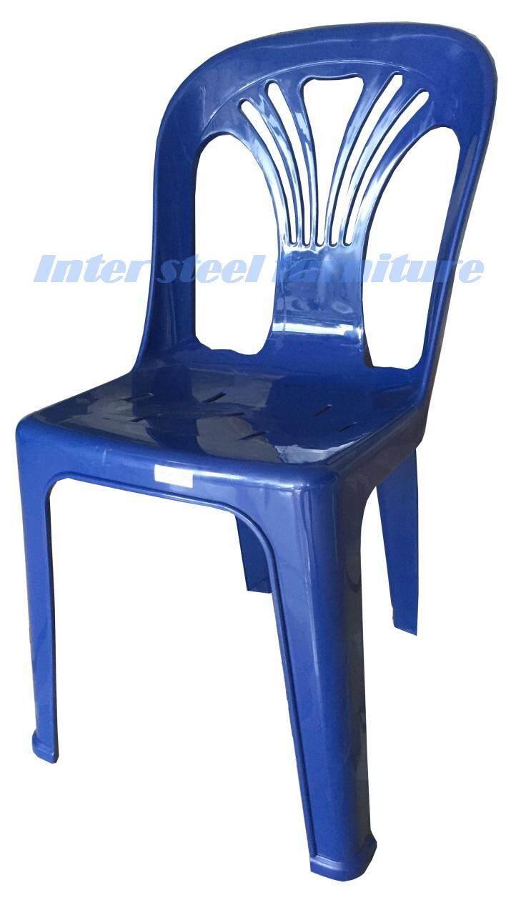 เช่าเก้าอี้ หนองคาย Inter Steel เก้าอี้พลาสติก มีพนักพิง รุ่นหลังW (สีน้ำเงิน)