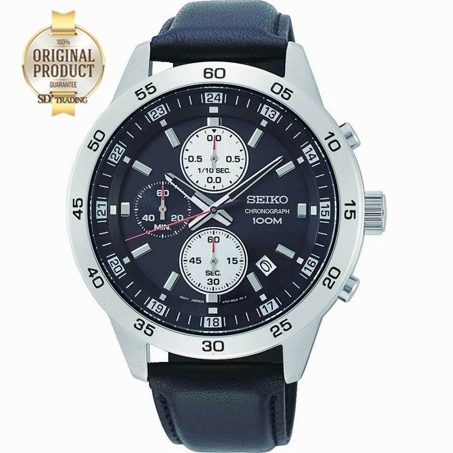 ยี่ห้อไหนดี  ลำพูน SEIKO Neo Sport นาฬิกาข้อมือผู้ชาย Chronograph สายหนังดำ หน้าดำ รุ่น SKS649P1